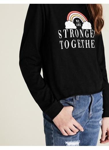 Marks & Spencer Saf Pamuklu Gökkuşağı Baskılı T-Shirt Siyah